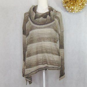 Prana Gray Striped Cowl Neck Knit Sweater Top S